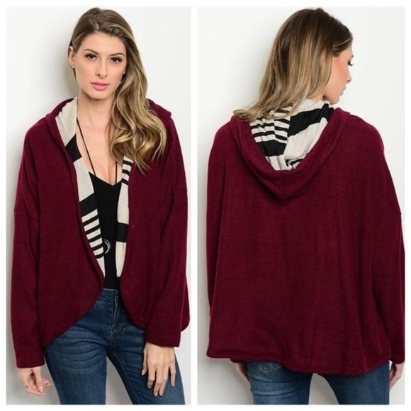 2364ab45 Oddi Jackets & Coats | Hooded Sweater Jacket Wine | Poshmark
